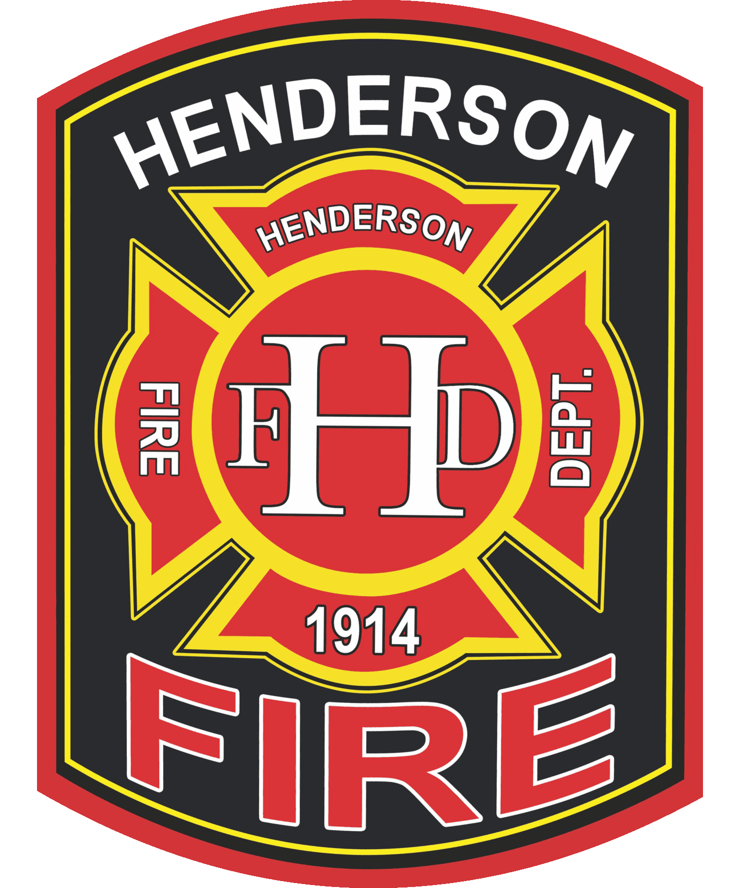 Logo of Henderson Fire Department in Black, Red, Yellow and White colors
