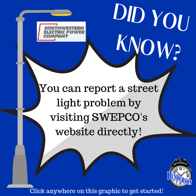 SWEPCO graphic to Report a Street Light feature through SWEPCO website directly