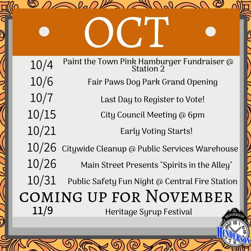 Month of October Events Calendar Graphic