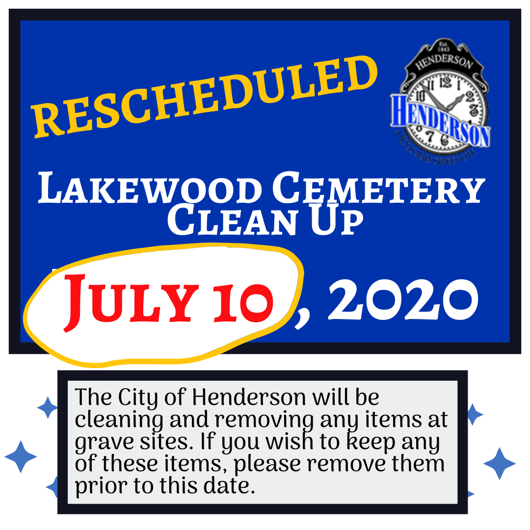 Lakewood Cemetery Clean Up Rescheduled for July 10