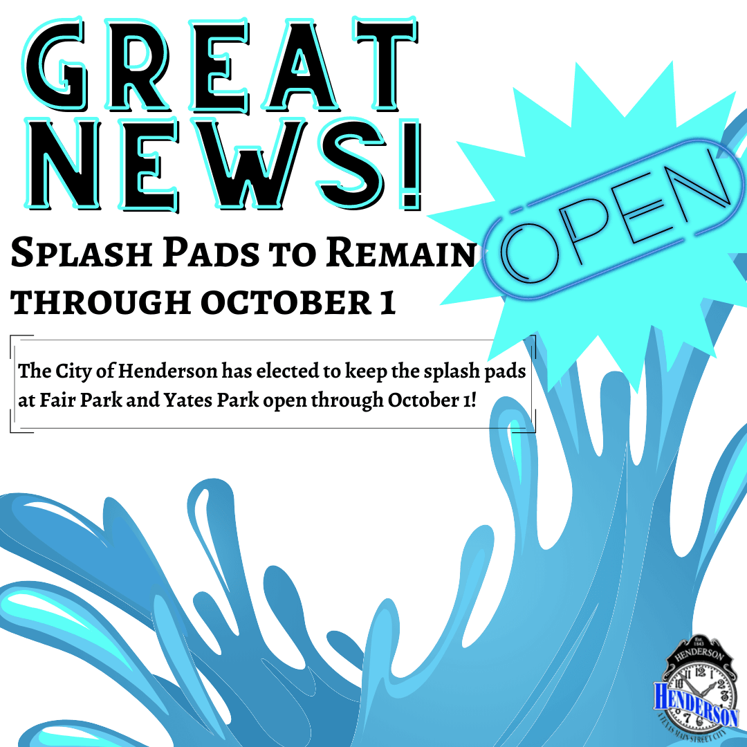 Splash Pads Extended to 10-1