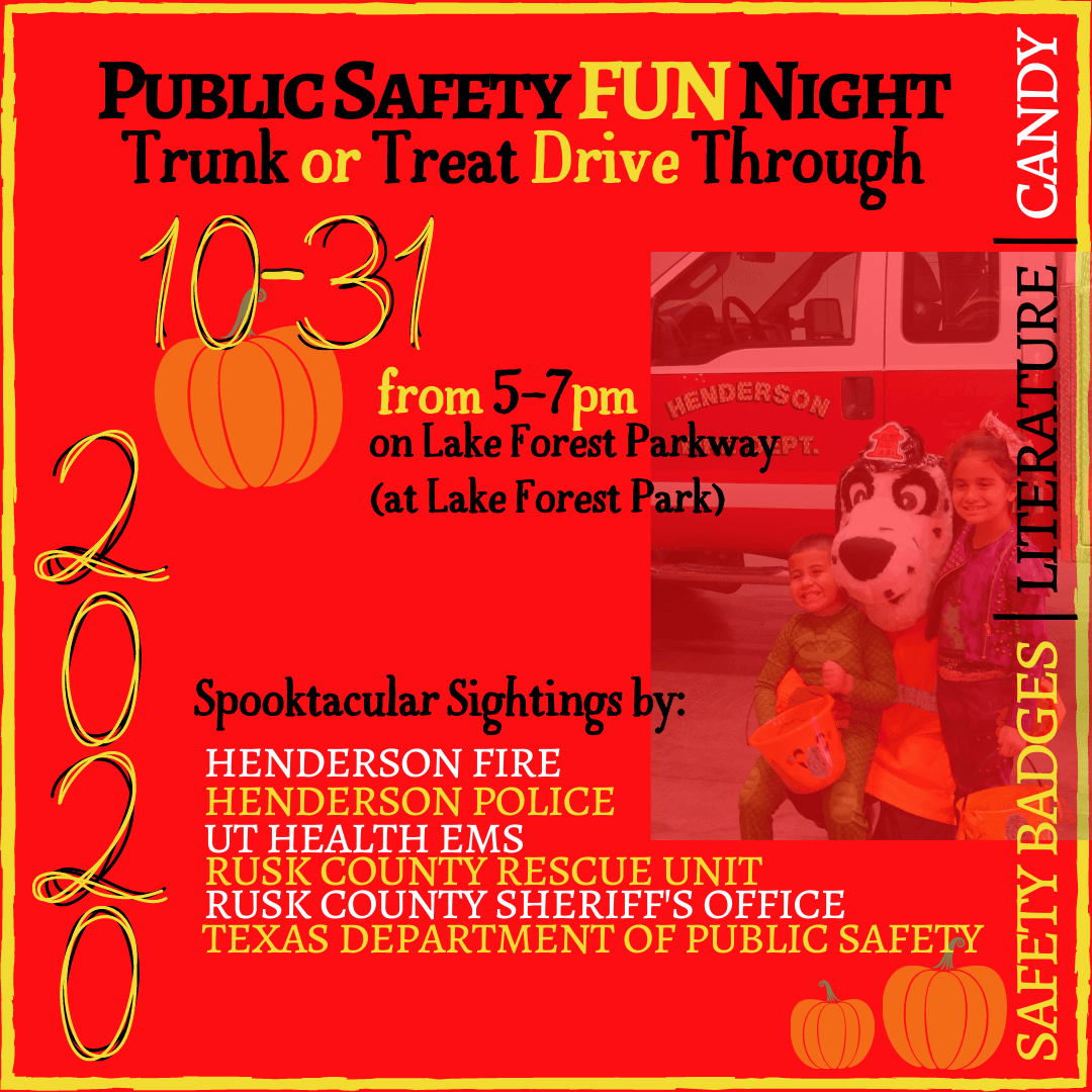 Public Safety Fun Night Information Graphic with List of Agencies Involved for 2020
