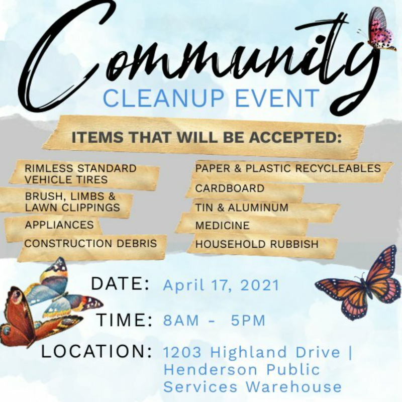 Henderson Community Cleanup: April 17, 2021